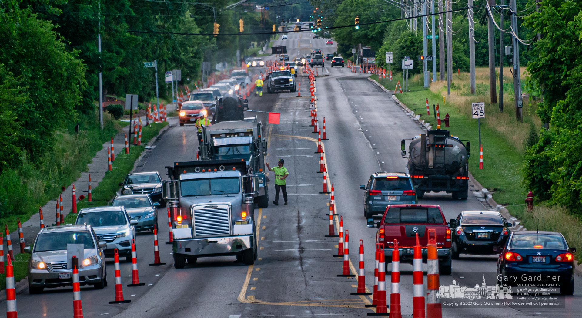 Traffic on Cleveland Avenue was reduced to one lane for the second night for resurfacing from Main to the St. Ann's entrance. My Final Photo for June 23, 2020.