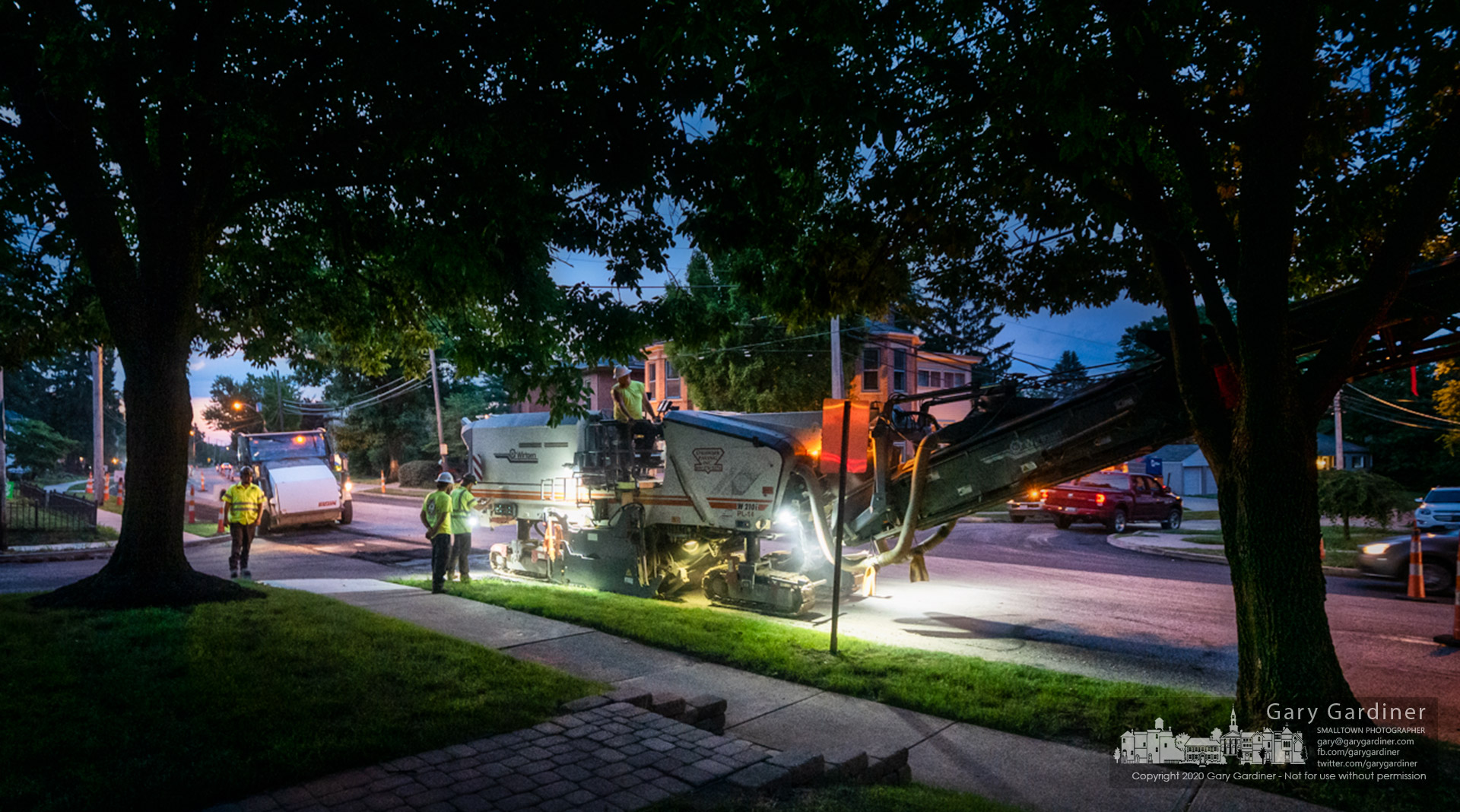 A milling machine removes three inches of asphalt from North State Street readying the surface for a new layer of asphalt during the overnight hours to prevent interruptions to daytime traffic. My Final Photo for June 30, 2020.