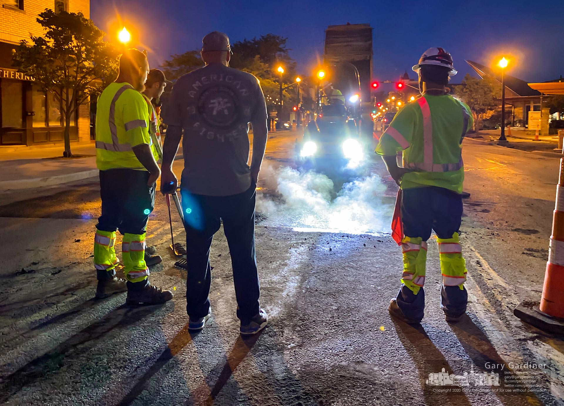 A paving crew begins work at night on sections of State Street in Uptown Westerville signaling the last phase of the Uptown Improvement Project. My Final Photo for June 24, 2020.