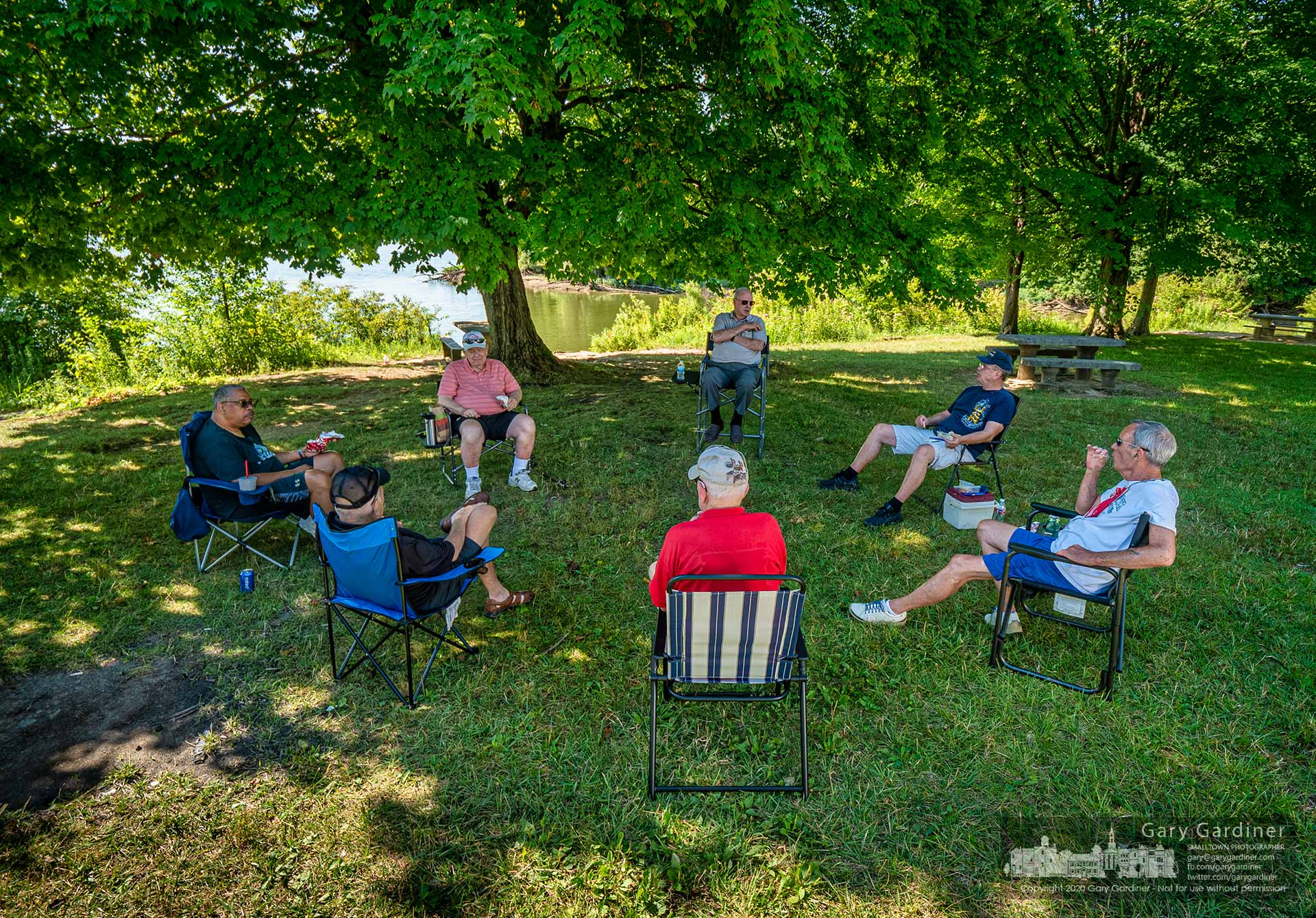 A group of Westerville Senior Center members has their weekly meeting at Red Bank Park at Hoover Reservoir where their biggest complaint is the closing of the pool table at the center which was their favored place to meet before the pandemic. My Final Photo for July 29, 2020.