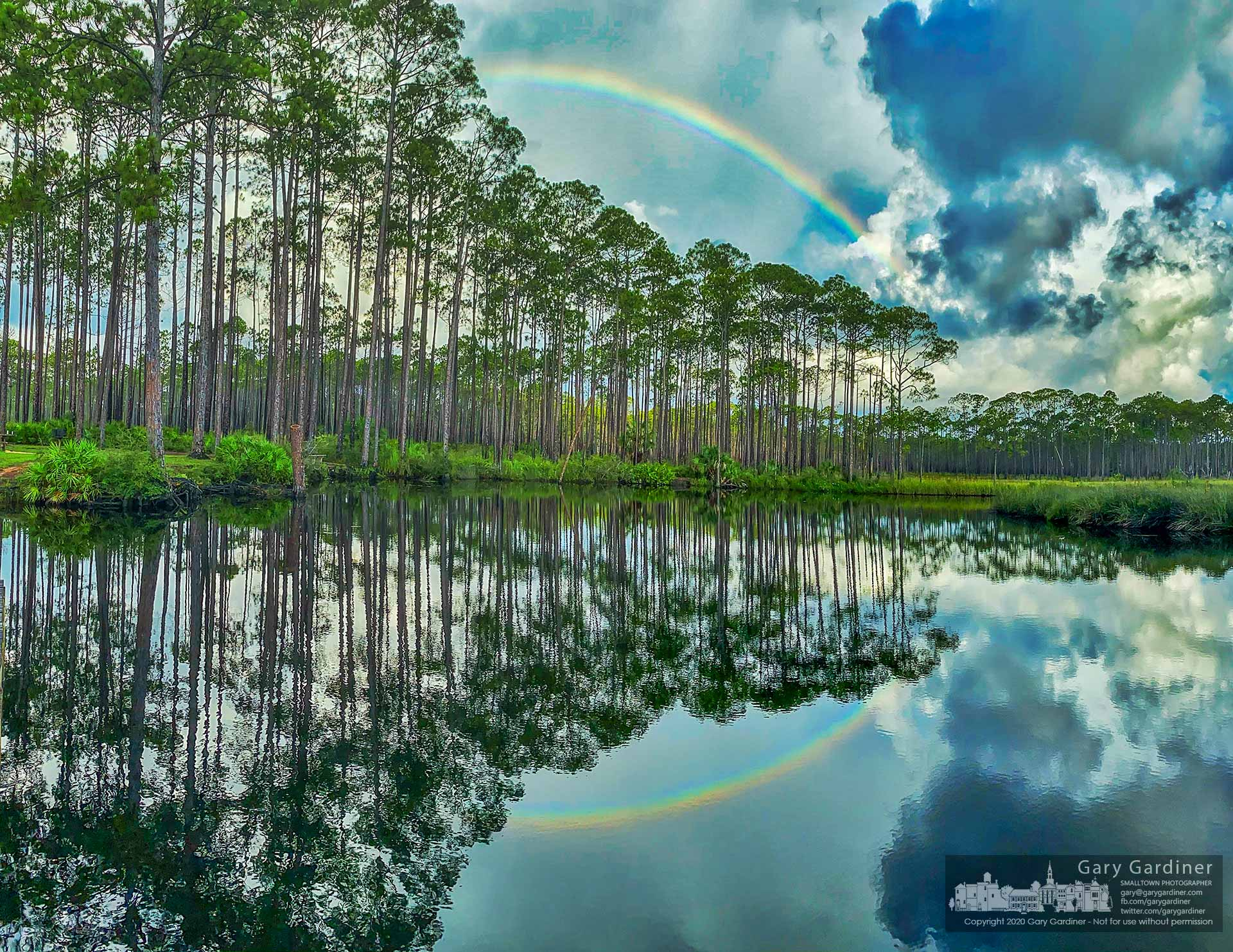 A rainbow settles across the sky at Cash Camp Bayou in Tate's Hell State Forest near Apalachicola, FL. My Final Photo for July 19, 2020.