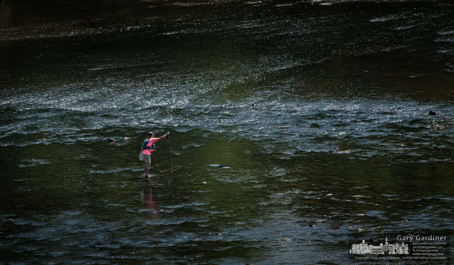 A fly fisherman floats his lure downstream in the waters of Big Walnut Creek just below Hoover Dam. My Final Photo for Aug. 13, 2020.