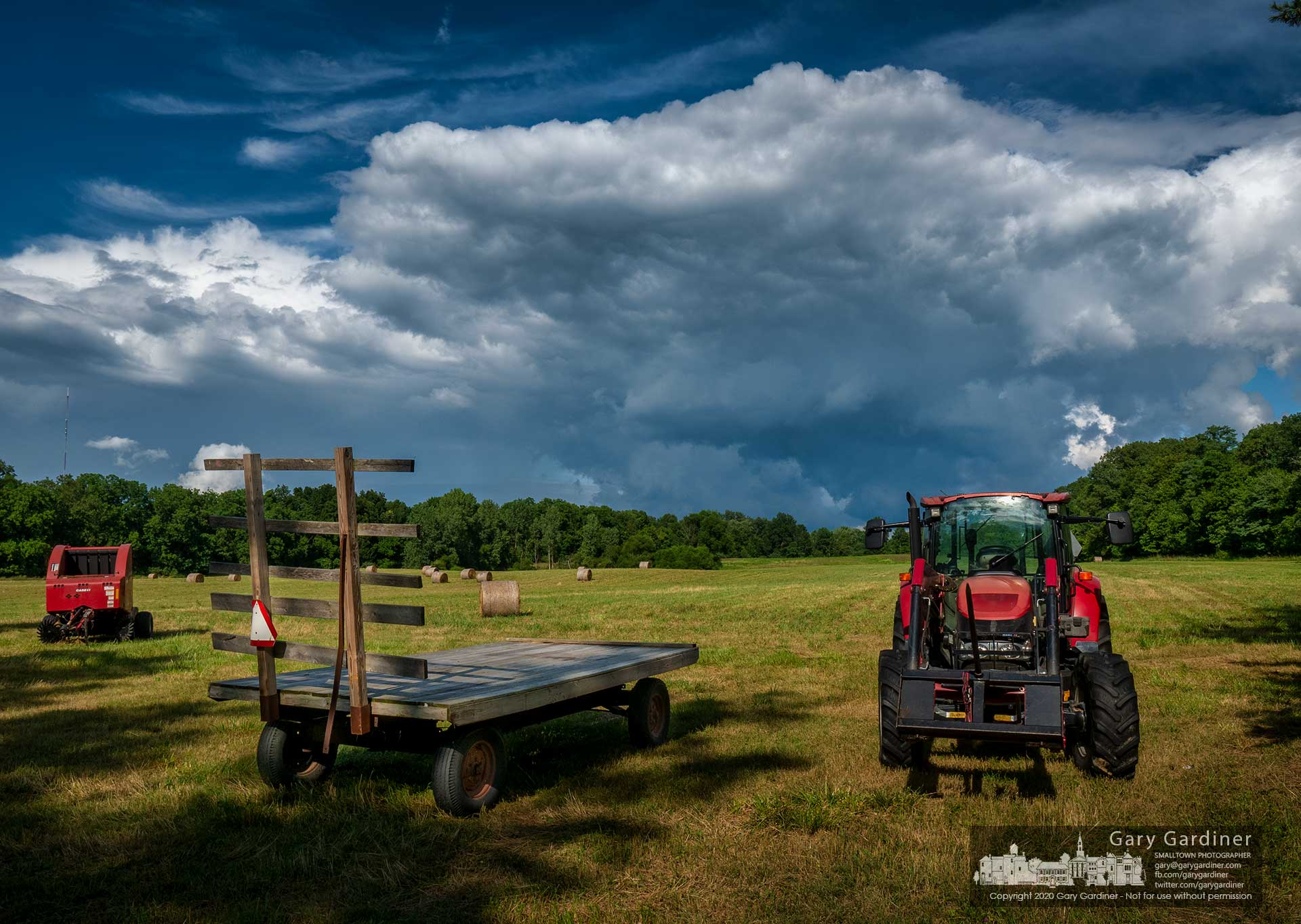Storm clouds move eastward bypassing the freshly cut and baled hay fields at the Sharp Farm on Africa Road. My Final Photo for Aug. 3, 2020.