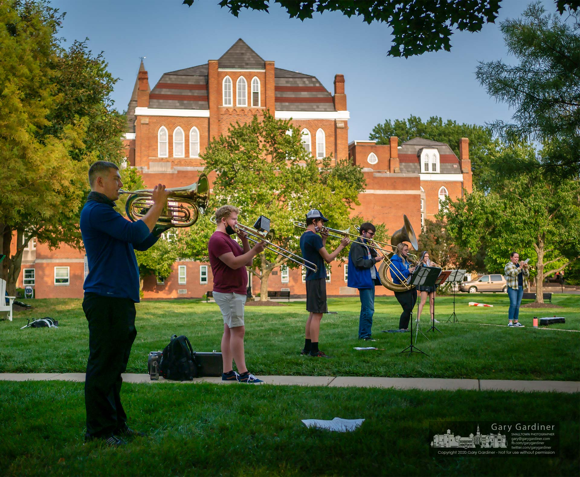 Otterbein music students practice as a safe social distance on the green outside the art building. My Final Photo for Sept. 15, 2020.
