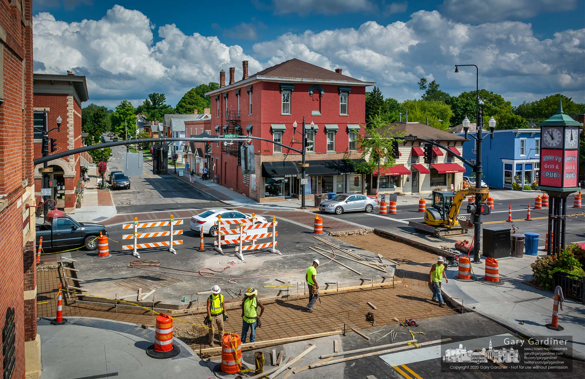 A construction crew lays reinforcing steel and builds forms for a layer of concrete to be poured at State and College where the final four-cornered brick crosswalk will be installed as part of the Uptown Improvement Project. My Final Photo for Sept. 10, 2020.