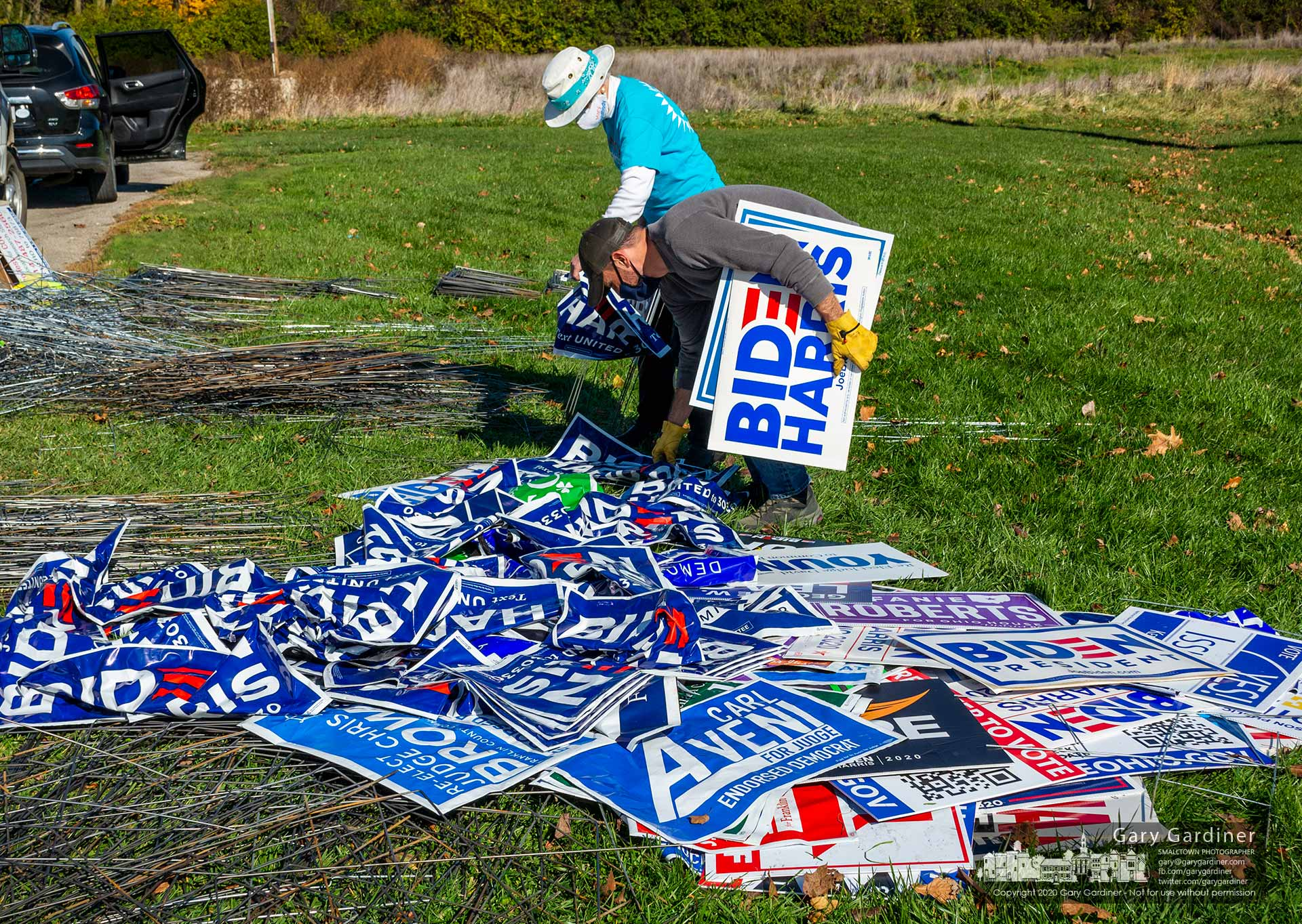 Workers collect 2020 election signs for recycling at a Columbus, Ohio, dropoff Saturday where the plastic signs and their metal holders are separated and sent to recyclers. My Final Photo for Nov. 7, 2020.