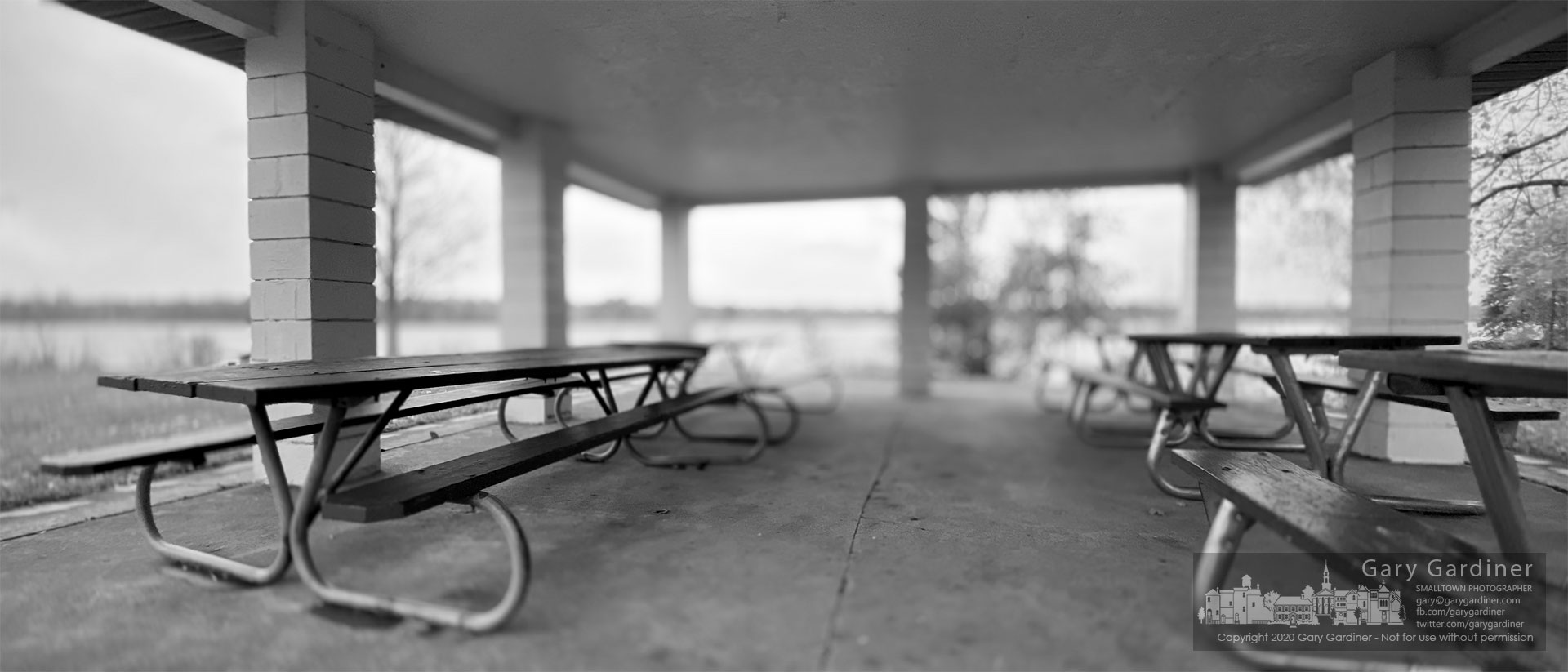 Picnic tables sit unused on a blustery November afternoon as a cold front brought the greys of winter-like weather to Red Bank Park. My Final Photo for Nov. 1, 2020.