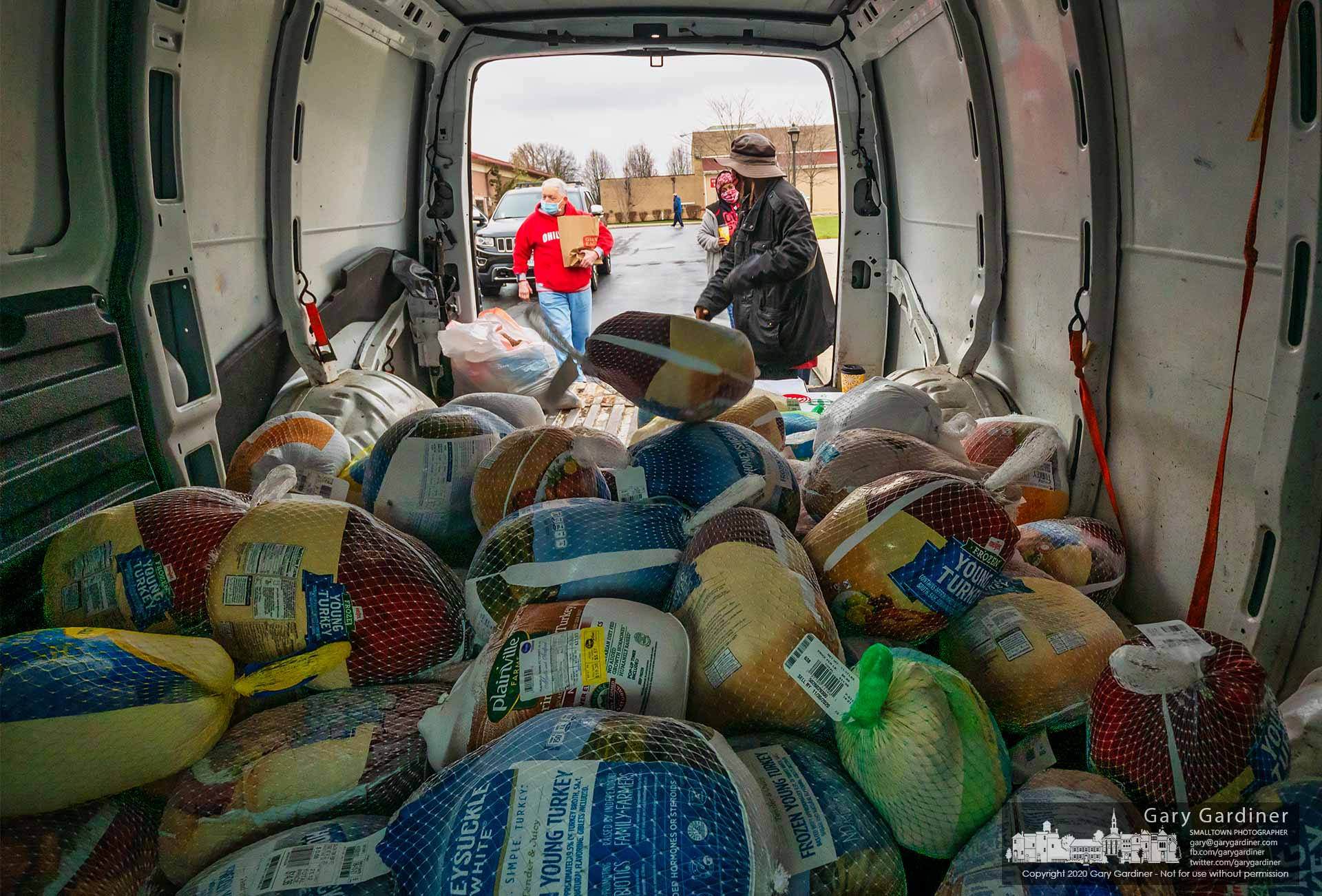 Turkeys begin to pile up in the Community Kitchen van as parishioners donate frozen birds, dried goods, and cash to provide the Holy Rosary-St. John kitchen with food for the holiday season and beyond. My Final Photo for Nov. 22, 2020.