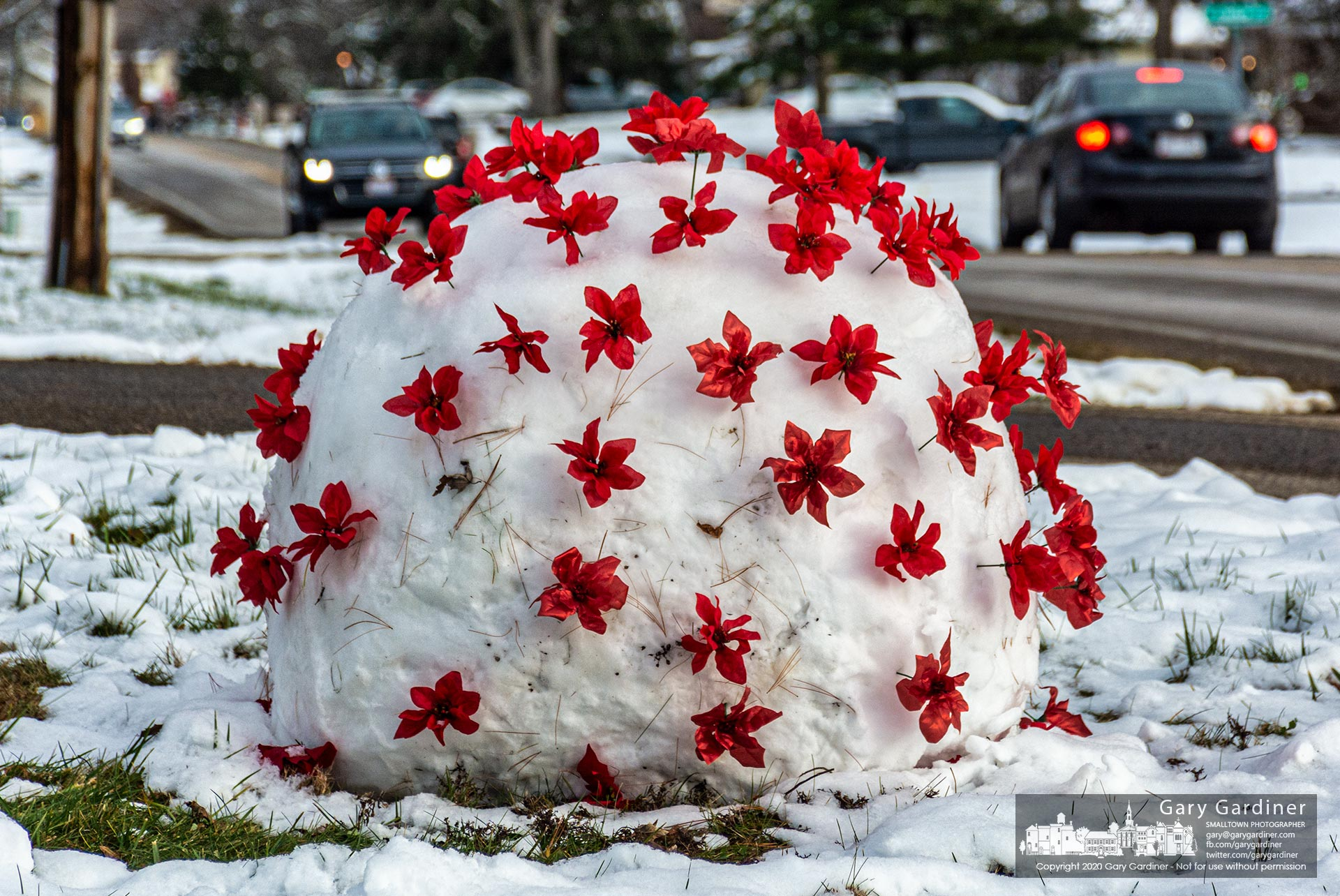 An oversized snowball on East College is decorated as the coronavirus. My Final Photo for Dec. 18, 2020.