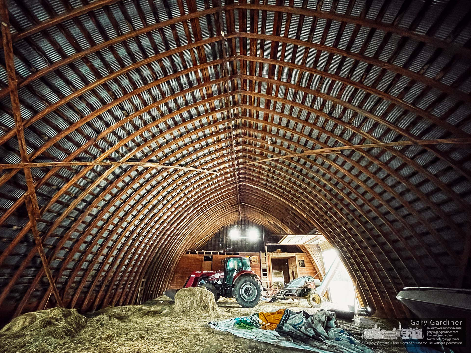 The barn at the Braun Farm sits almost empty with little hay and grains and only a few implements used for farming. My Final Photo for Jan. 18, 2021.