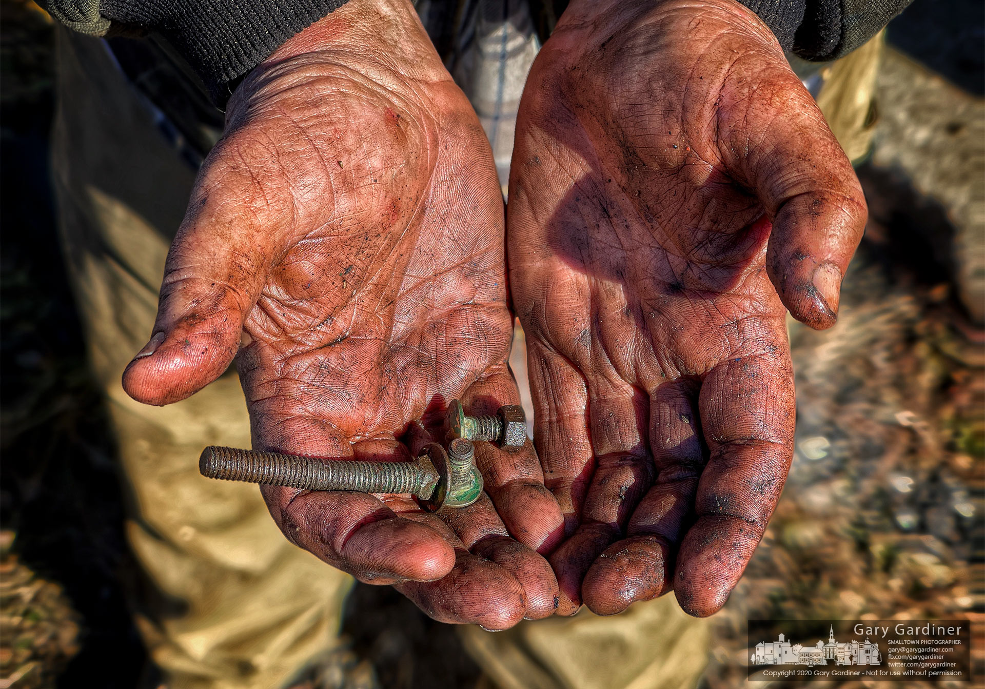 A farmer's hand bearing dirt and grease holds carriage bolts and nuts needed to repair a corn picker after it broke harvesting corn on the Braun Farm. My Final Photo for Jan. 21, 2021.