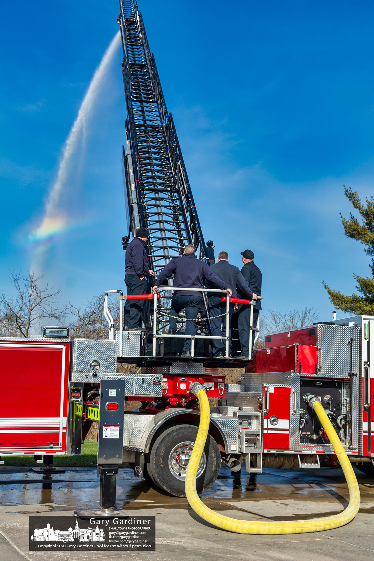Westerville firefighters tested hose couplings on the department's new Hook and Ladder Co. 111 tiller truck at the fire station creating a small rainbow over a retention pond behind the building. My Final Photo for Jan. 13, 2021.