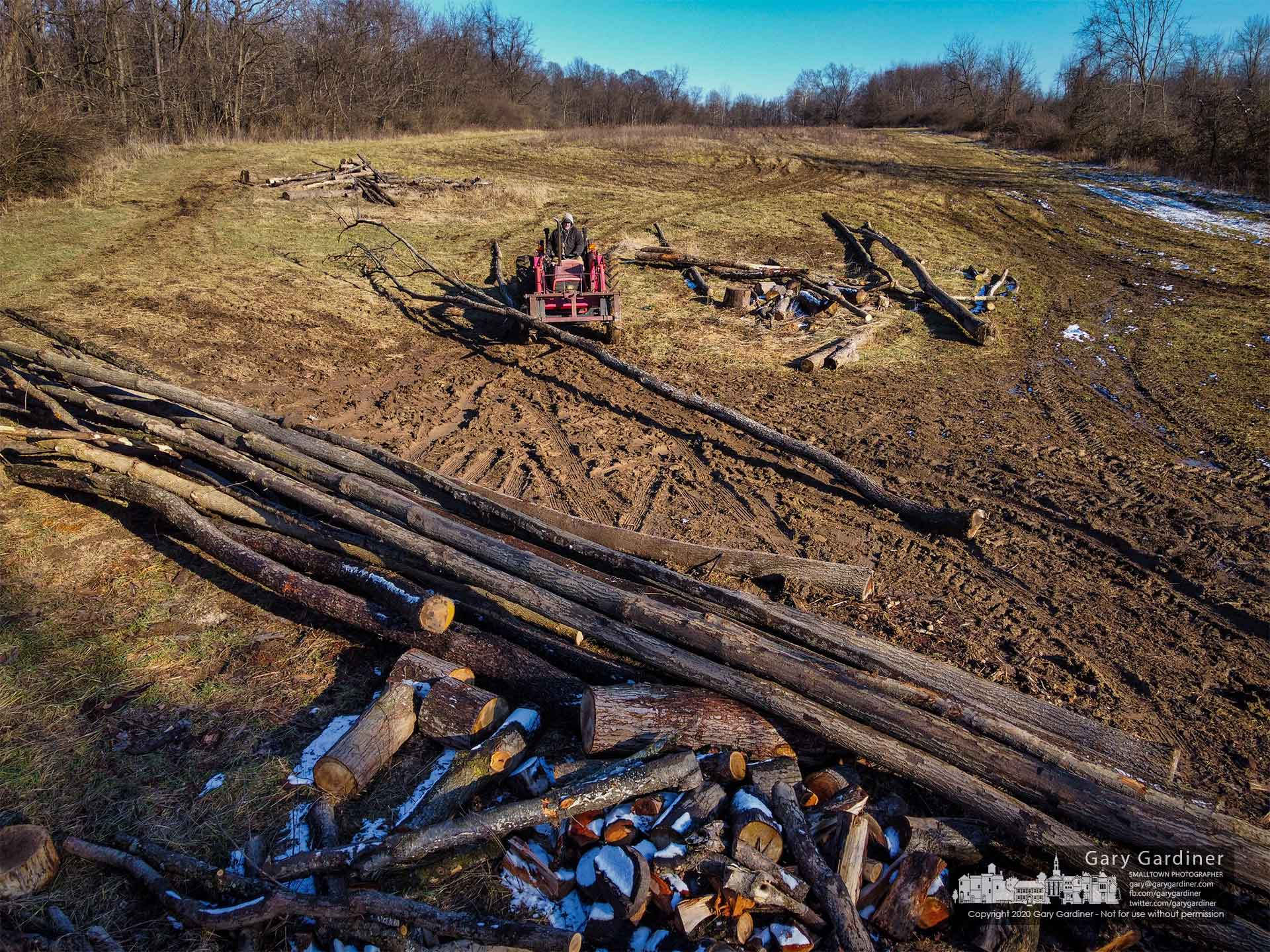 Kevin Scott hauls felled trees to a collection point as he helps clear trees from land that will be planted with crops in the spring. My Final Photo for Jan. 19, 2021.