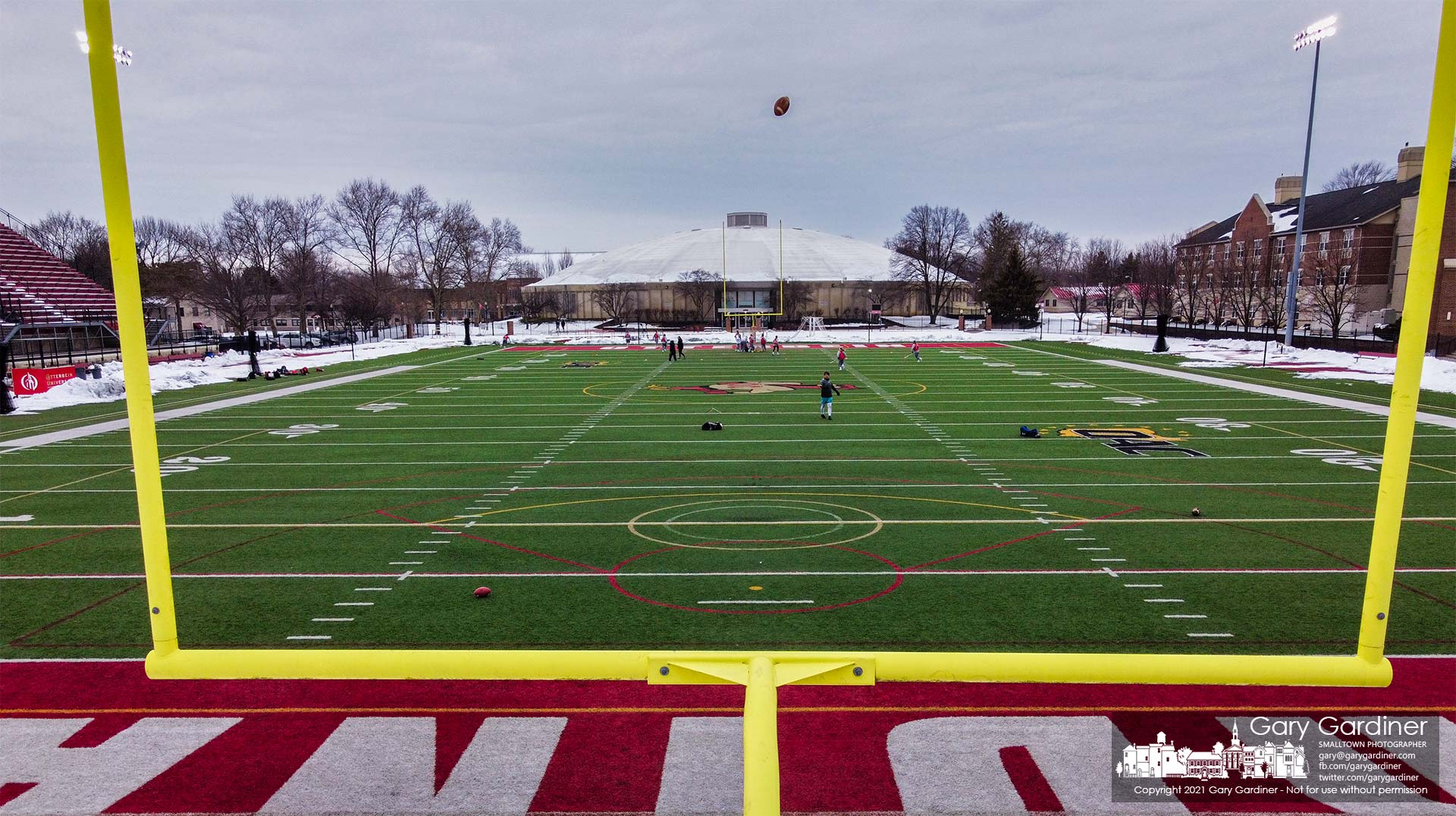 A kicker practices his skills during lacrosse practice at the Otterbein University football stadium. My Final Photo for Feb. 8, 2021.