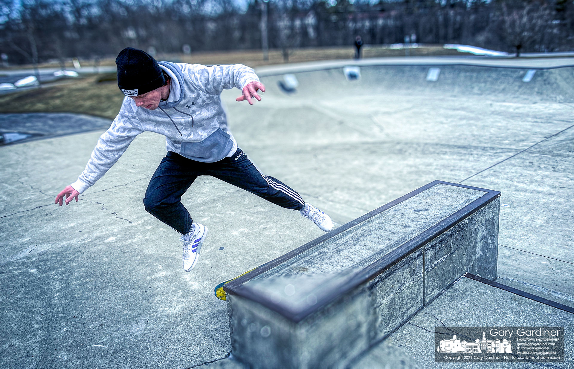 A skater steadies himself after failing on grinding one of the sections of the Westerville Skatepark on a cool late February afternoon. My Final Photo for Feb. 26, 2021.