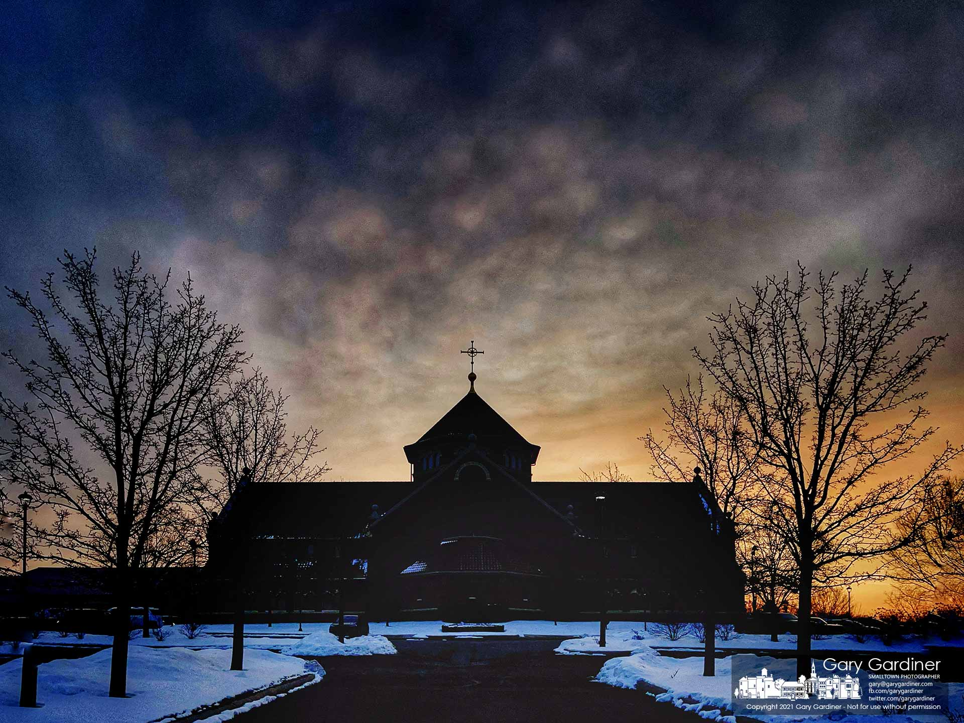 The sun rises on a cold morning at St. Paul the Apostle Catholic Church in Westerville. My Final Photo for Feb. 14, 2021.