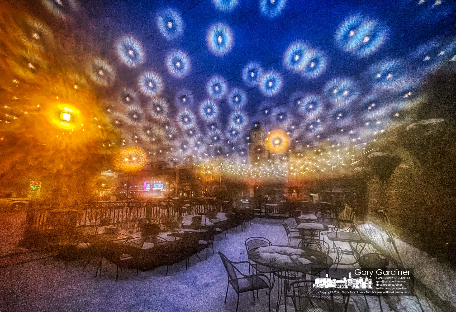 The patio lights at Jimmy V's glisten during a sleet storm that preceded the forecast for heavy overnight snow in Central Ohio. My Final Photo for Feb. 15, 2021.