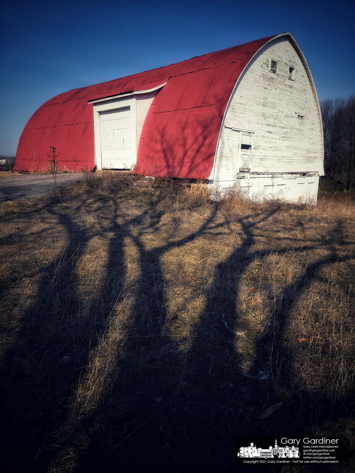 Late winter shadows from a walnut tree stretch themselves toward the barn on the Braun Farm in Westerville. My Final Photo for March 8, 2021.