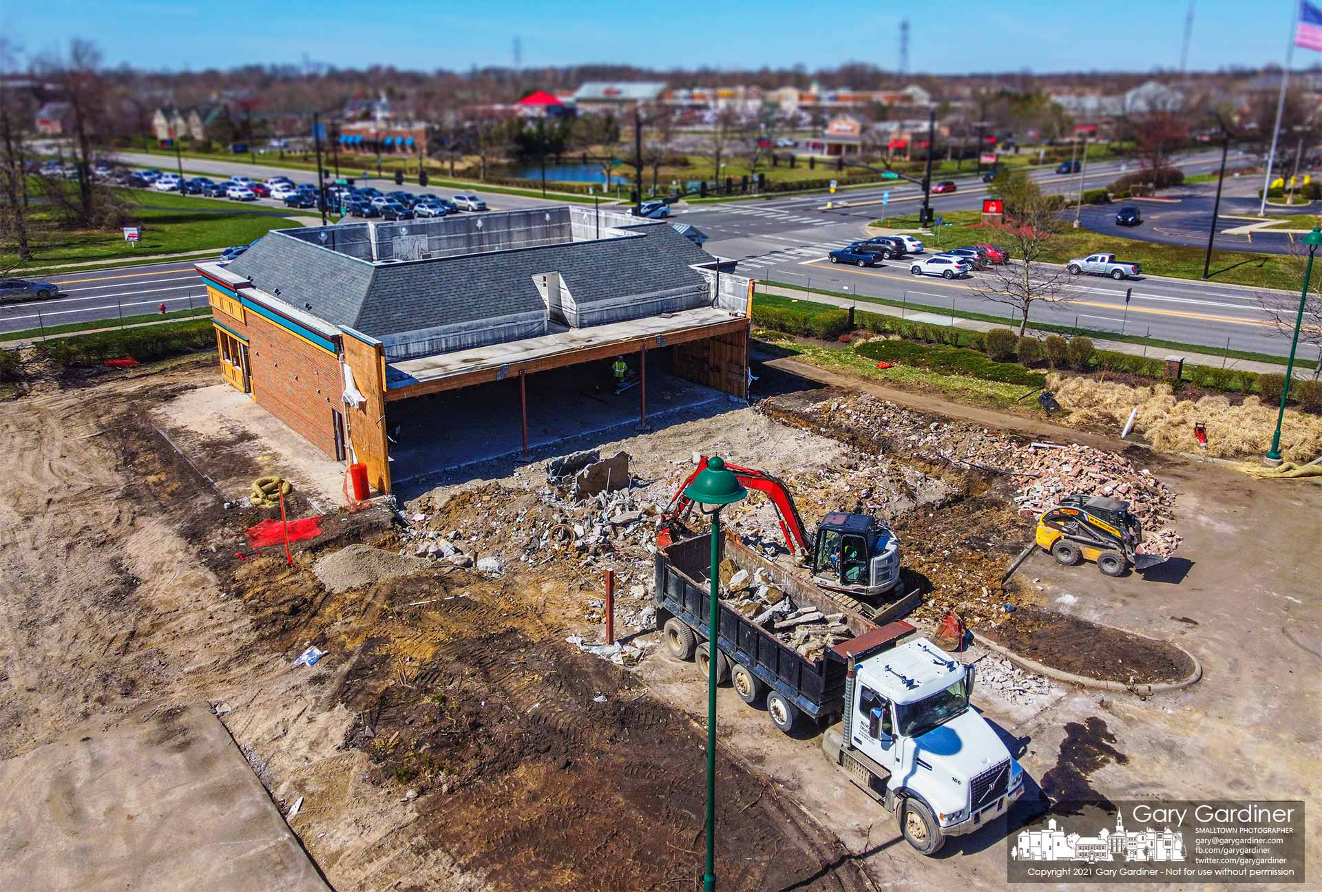 The kitchen and backrooms of Max and Erma's restaurant have been demolished and removed to make way for the construction of a bank building at the corner. My Final Photo for April 2, 2021.