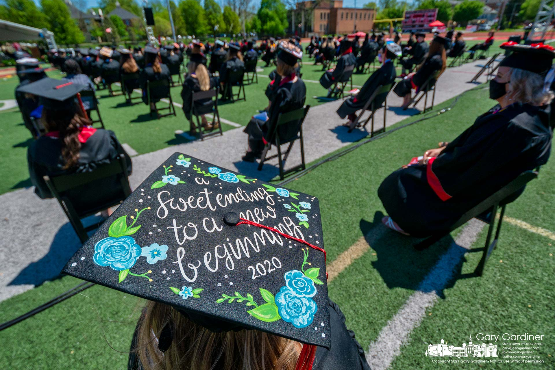 An Otterbein 2020 graduate wears a delayed message of hope during commencement ceremonies Saturday after a delay from last year due to the pandemic. My Final Photo for May 1, 2021.