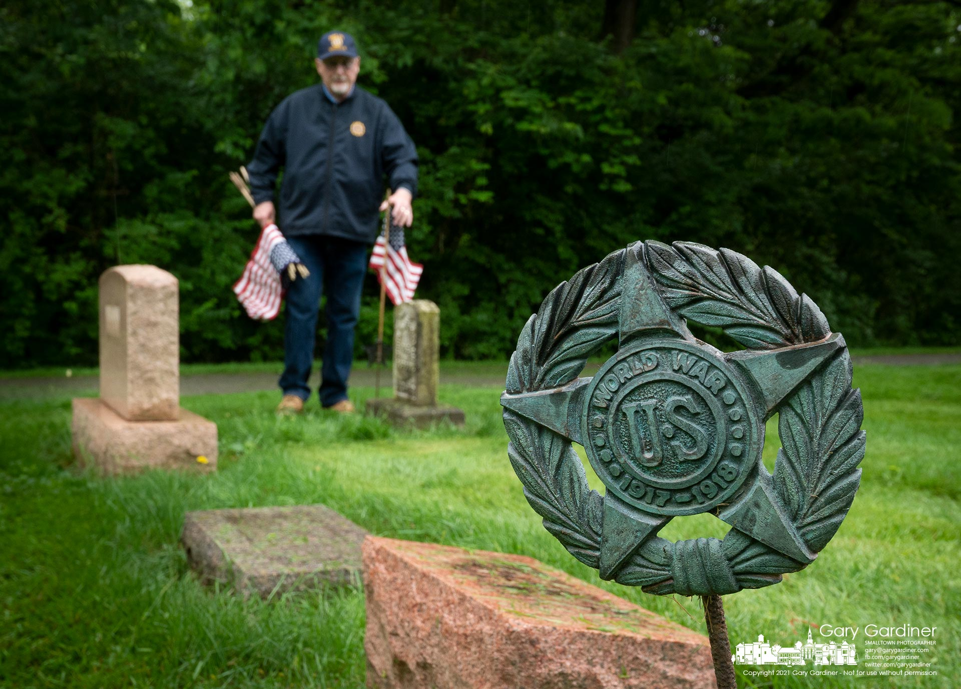 Members of the Westerville American Legion post set out flags for veterans at Otterbein Cemetery, one of two local cemeteries they care for on Memorial Day weekend. My Final Photo for May 28, 2021.