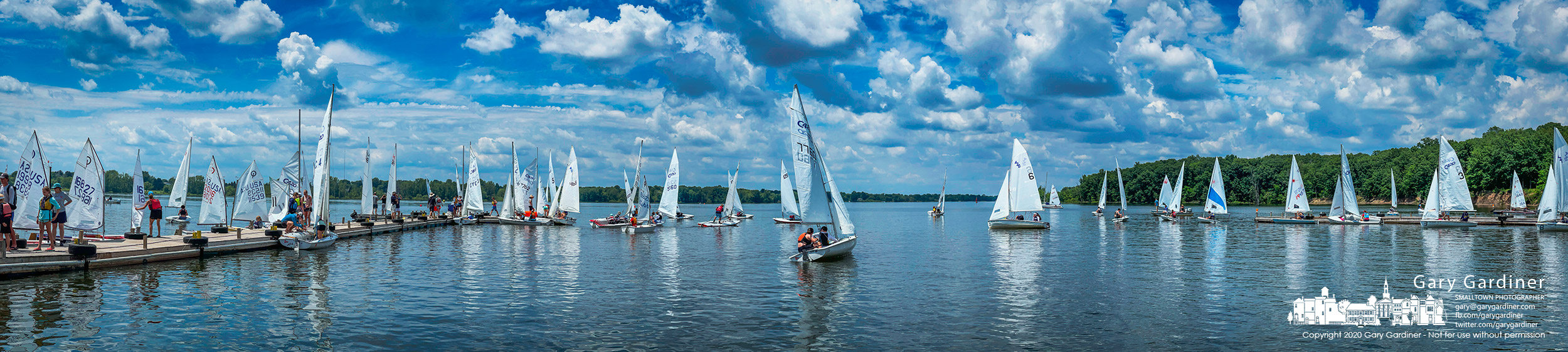 Three fleets of sailors cast off from the docks at the Hoover Sail Club for afternoon completion in a regional regatta. My Final Photo for June 12, 2021.
