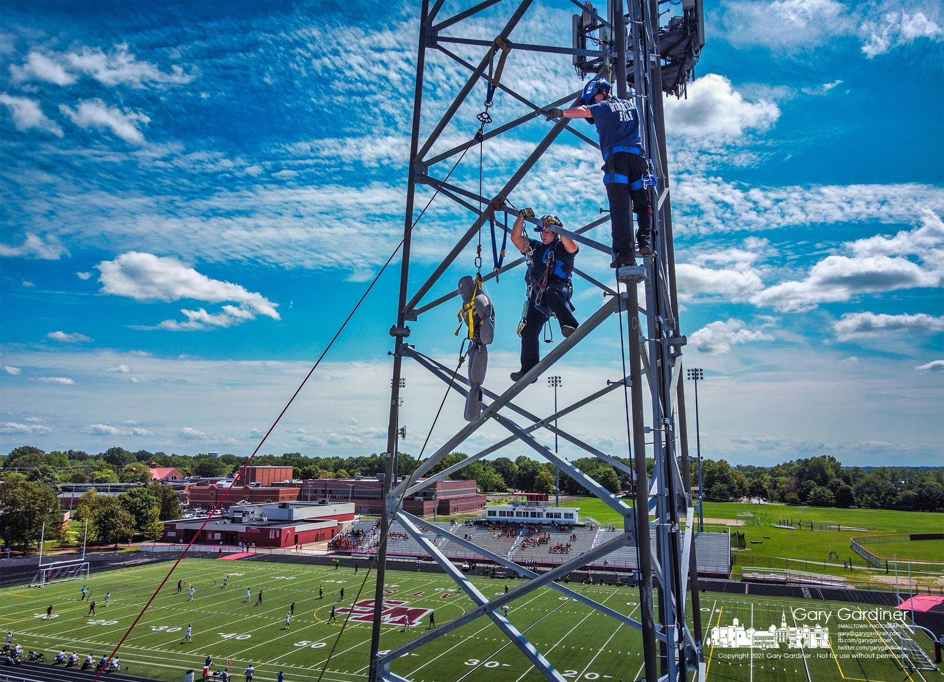 Westerville firefighters practice rescue techniques for removing an injured person from a tall antenna tower. My Final Photo for Aug. 14, 2021.