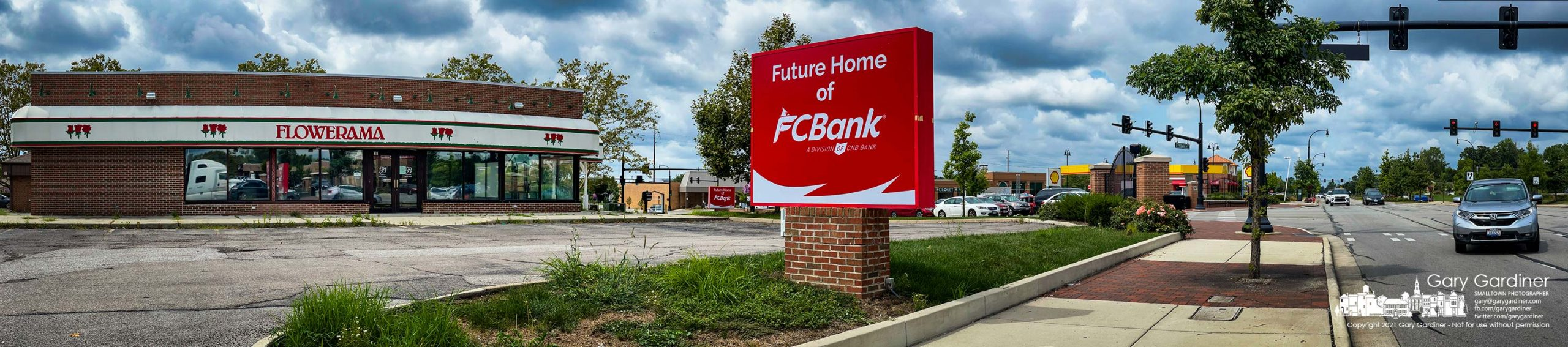 The former Flowerama signs at the corner of South State Street and Schrock road now display signs for the bank that will bn e taking over the space. My Final Photo for Aug. 30, 2021.
