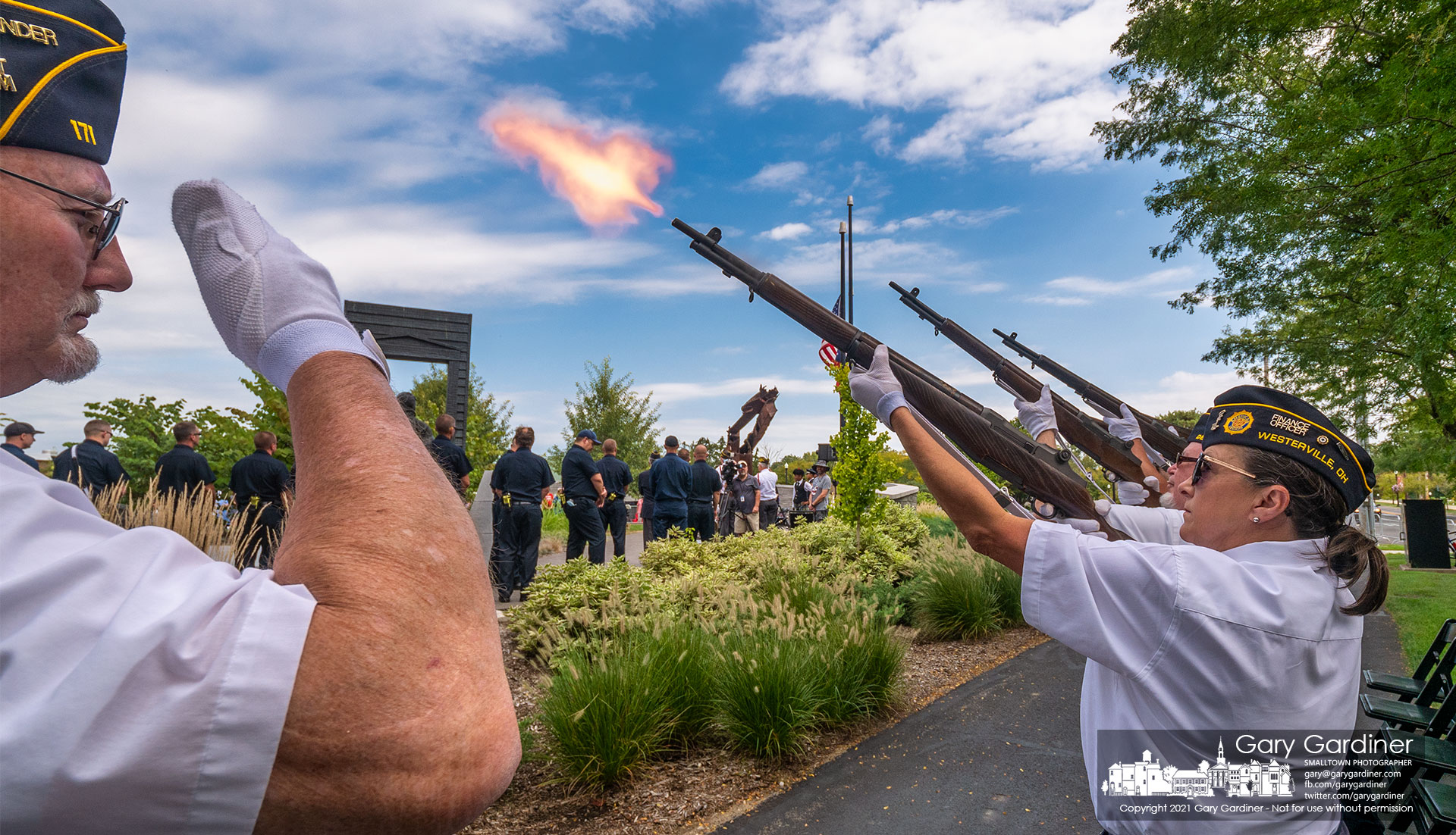 The American Legion Honor Guard fires a 21-gun salute at the end of noon ceremonies at First Responder's Park marking the 20th anniversary of the terrorist attacks in New York, Washing, and Pennsylvania. My Final Photo for Sept. 11. 2021.