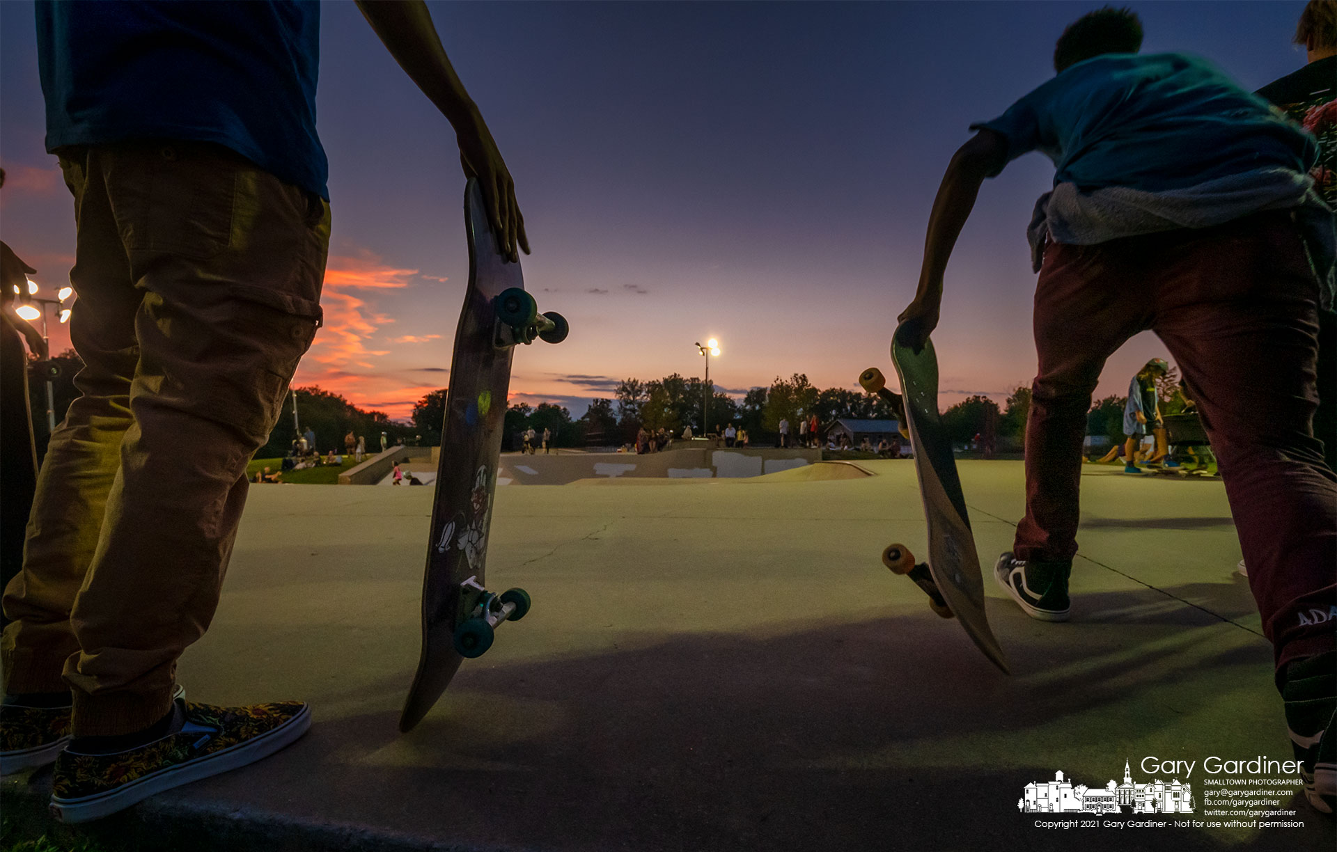 """A skater launches himself toward the Westerville Skate Park during """"Skate Late,"""" an evening of skating under lights at the skate park. My Final Photo for Sept. 18, 2021."""