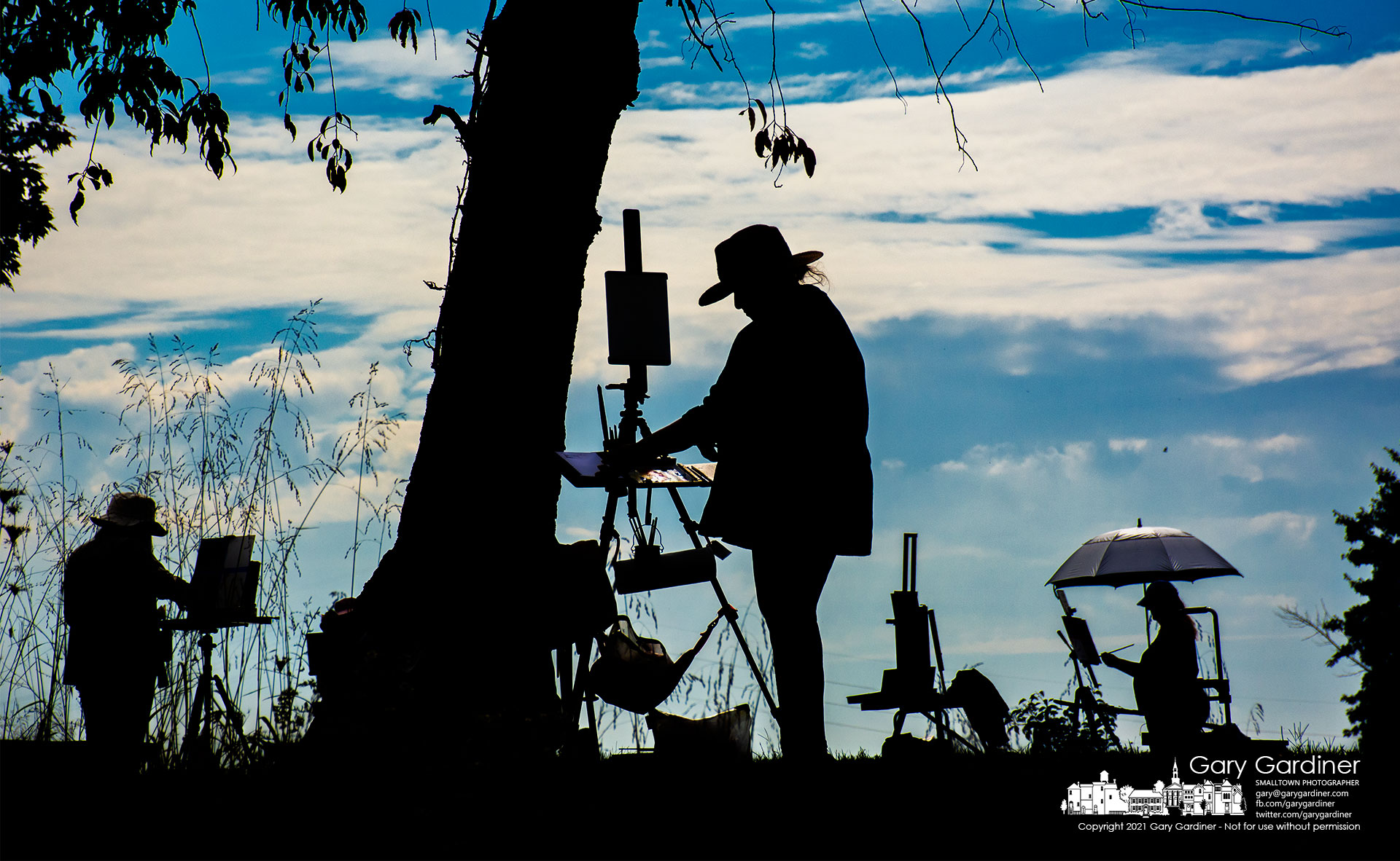 An array of Plein Air artists study their subjects and their results during a painting session at Red Bank Park on Hoover Reservoir. My Final Photo for Oct. 5, 2021.