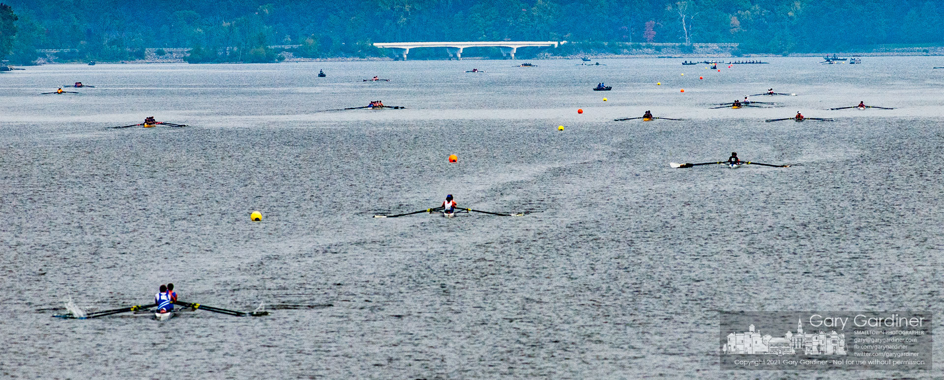 A flotilla of boats race in the Columbus Fall Classic competition Saturday at Hoover Reservoir after having canceled last year's event because of the pandemic. My Final Photo for Oct. 9, 2021.